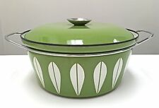 "Cathrineholm Lotus Green Dutch Oven 4 Qt 10.5"" Dia Enamelware Mid Century Norway"