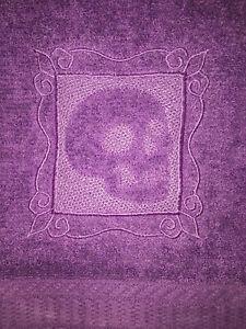 Embroidered  Purple Bathroom Hand Towel Embossed Skull HS0660