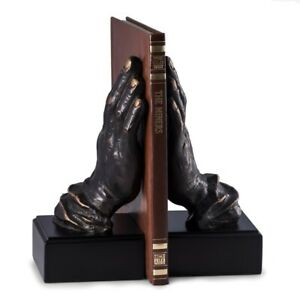Bey-Berk R19P Cast Metal Hands Bookends with Bronzed Finish on Black Wood Base