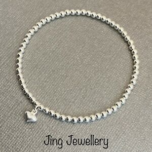 Sterling Silver Beaded Stretch Stacking Bracelet 925 Tiny Puffed Heart Charm