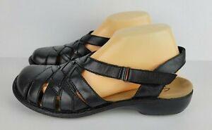 Clarks Bendables Womens Size 10M Black Leather Closed Toe Sling Back Sandals
