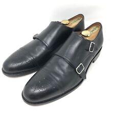 Massimo Matteo Black Leather Double Monk Strap Medallion Dress Shoes Men's 10.5