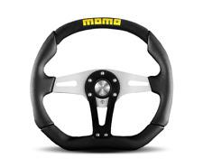 Momo Trek 350mm Steering Wheel Black Silver Leather 6 Bolt Polaris RZR X3 YXZ