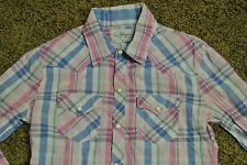 TRUE RELIGION Western Cotton PLAID S Shirt NWOT$136 Pearl Snap Buttons!PINK&BLUE