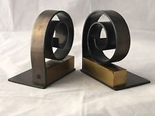 Spiral Bookends Designed by Walter Von Nessen for CHASE Brass Copper Art Deco