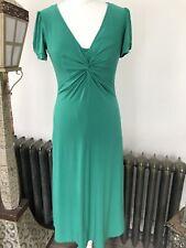 Long Talk Sally Dress Midi Size 10 Green Lined Stretch V Neck Short Sleeve Heavy