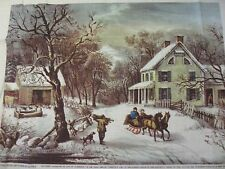 Crewel Embroidery Kit AMERICAN HOMESTEAD WINTER Currier & Ives 1979 Vintage RARE
