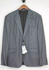 Hardy Amies Mens Wool Suit 46R 40W Gray Birdseye Weave Pants Jacket 2 Button