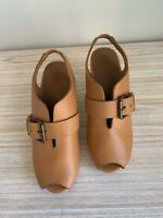GORMAN SHOES Brown tan leather peep toe platform CLOGS Buckle Wooden size 37