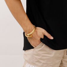 Mens Gold stainless steel wire Chain bracelet cuff bangle Hip-Hop Jewelry 8mm