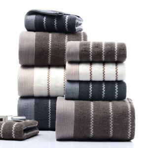 3pcs/lot Bath towel & face towel & hand towel pure cotton towels Wavy strip A+++