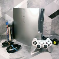 Sony Playstation 3 PS3 Slim Silver Edition CECH-3003B with Controller & Games
