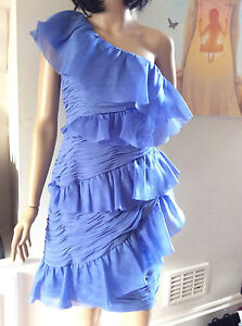 MARCHESA Notte LILAC Ruched Silk Ruffle Cocktail dress Small
