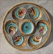 French Art Nouveau Majolica Head Fish Onnaing Oyster Plate 1890