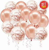 "10 Rose Gold CONFETTI LATEX BALLOONS Helium 12"" Birthday Baloons Party Wedding"