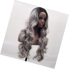 Arimika Ombre Silver Grey Bodywave Heat Safe Synthetic Lace Front Wig For Women