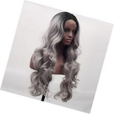 Arimika Sole Sfumati Argento Grigio Bodywave calore sicuro parrucca sintetica lace frontale per le donne