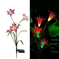Solar Power Red Lily Flower Garden Stake Landscape Lamp Outdoor Yard LED Light