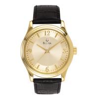 Bulova Men's Quartz Champagne Dial Gold Tone Case Black Band 38mm Watch 97A70