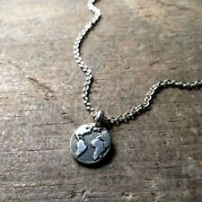 Silver Planet Earth Round Tiny Globe World Map Necklace Pendant Jewelry