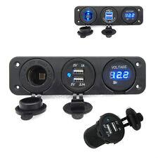Waterproof 3 in1 Car Triple USB Charger Port + Voltmeter + Cigarette Lighter 12V