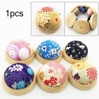 EB_ Wooden Bottom Needle Pin Cushion Pillow Sewing Craft Stitch DIY Holder Tool