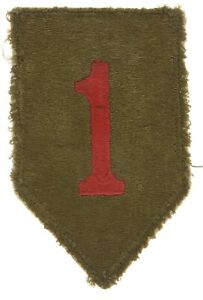 WWII US Army 1st Infantry Division Shoulder Sleeve Insignia, Green Back