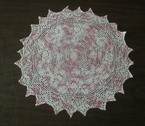 Vintage Variegated Pink and White Crochet Doily 15 1/2  Inches Diameter