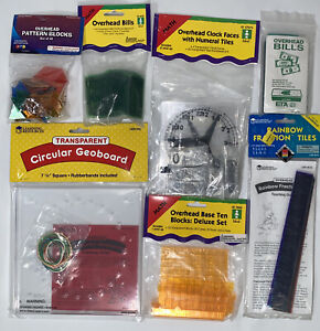 Teacher Math Resources Lot Of 7 Overhead Learning Resources Manipulatives New