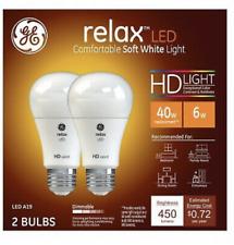 2 Pack GE Relax LED HD Light 40 Watt Replacement 6 Watt A19 Dimmable