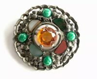 Vintage Large Silver Tone Scottish Agate Paste Stone Mizpah Brooch GIFT BOXED