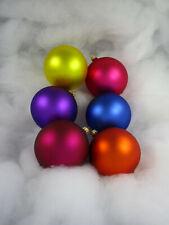 6 Glaskugeln 8cm mundgeblasen bunt matt Mix , kunterbunt (S90) Weihnachtskugeln