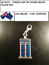 NEW NEW SILVER DR WHO TARDIS CLIP ON CHARM POLICE BOX AUSSELLER GREAT VALUE 102W