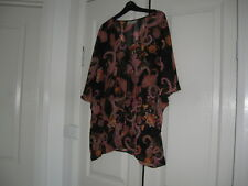 Ladies Top Size 12  Design Sussan Black with Diff Colours  Batwing Sleeves