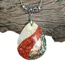 Abalone And Coral Shell Tear Drop Pendant On Silver Plated Snake Necklace