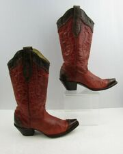 Ladies Corral Reddish Pink / Brown Leather Western Cowgirl Boots Size: 7 M