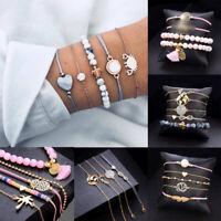 4-6Pcs/Set New Women Boho Gold Silver Bracelets Rhinestone Bangle Cuff Jewelry