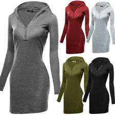 Cotton Blend Mini Dresses for Women with Hooded
