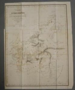 BORNEO 1842 VINCENDON DUMOULIN ANTIQUE ORIGINAL LITHOGRAPHIC SEA CHART