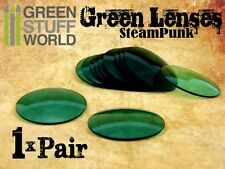 1x pair LENSES for Steampunk Goggles - Color GREEN -  Vintage Retro Victorian