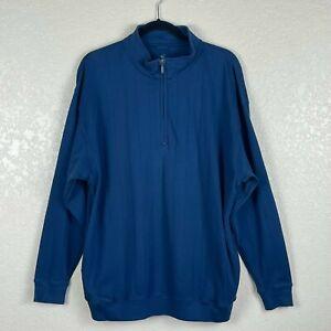 Fairway & Greene Men's 1/4 Zip Pullover Sweater Blue Sz XL100% Cotton Knit