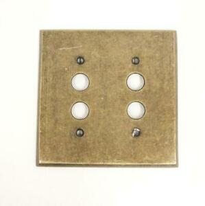 Antique Style 2 Hole Push Button Light Switch Plate Cover Brass Bronze Color