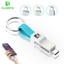 FLOVEME 3 in 1 Mini Keychain Lightning USB Cable Micro Type C For iPhone iPod