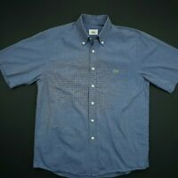 Lacoste Mens Vintage Shirt MEDIUM Short Sleeve Blue Regular Fit Cotton