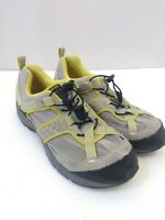 Lands' End Mesh / Leather Bungee Hiking Trail Shoes Womens US 7.5 B Gray Yellow