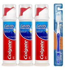 Colgate Toothpaste Cavity Protection Dental Pump 100ml 3 PACK + FREE TOOTHBRUSH