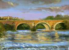 Ponte Milvio, Rome, Italy  9x12 in.Original Oil on panel HALL GROAT II