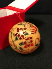 Vintage Ornament Inside Painted Box Red Gold Poinsettia Ball Red Cord Hanger B19