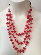 Faux Seaglass Necklace Red - Handmade