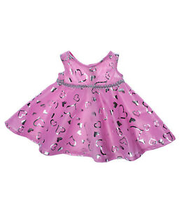 """Pink & Silver Dress Teddy Bear Clothes Outfit Fits Most 14"""" - 18"""" Build-a-bear a"""